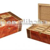 Wooden Cigar Box with Bubinga and Mapa Burl Pattern