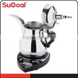 Saudi Arabic Dallah stainless steel tea & coffee pot copper plating outside coffee maker