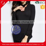 Custom wholesale 5% spandex 85% cotton black turtleneck maternity tshirt