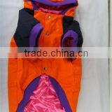100% cotton Pet hooded outwear clothes / with two layers dog surcoat fashion orange jacket