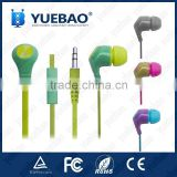 In ear tangle-Free colorful Flat wire earphone (Assorted colors)