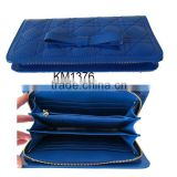 Yiwu Wholesale Blue Long Quality Leather Compartments Women Wallet