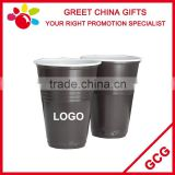 Promotional Custom Printed Double Wall Coffee and White 6oz Reusable PS Plastic Cup Beverage Cup Bar Decoration