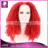 Cosplay wig red color synthetic hair wig kinky curly hair wig free shipping