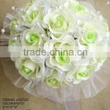 2015 Hot Sale Artificial PE light green Rose mesh Flower 16 Heads PE Bouquet with beaded For Wedding Decor