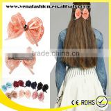 small beads bow korean ribbon hair clip, grosgrain ribbon hair clip