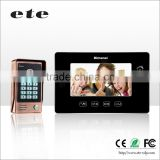 "ETE factory ID card + password unlock 7"" TFT LCD Wired Video Doorbell villa door video intercom system"