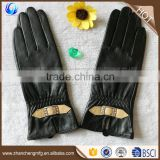 Fashion ladies wearing black tight goatskin C grade leather gloves