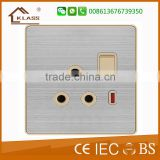2015 Hot Sale Wallpad Push Button Random Click Switch 15A 110~250V LED Indicator Luxury UK Wall Light Switch Panel 1 Gang 3 Pin