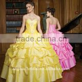 XZ-pd1224 sweetheart pink\yellow taffeta ball gown with beaded bodice and pick-up skirt hot pink quinceanera dresses