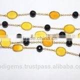 Yellow Chalcedony with Black Onyx Beads Bezel Chain