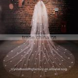 2015 wholesale long flower cathedral wedding veils accessories two layers 3 meters long and 1.5 meters width LV04