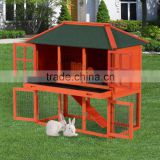 Pawhut Wooden Rabbit House / Wood Bunny Hutch w/ Lower Outdoor Run