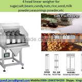 4 head linear weigher for sugar,salt,beans,candy,nuts,rice,seed,milk powder,seasonings powder,etc