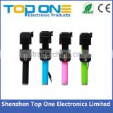 Factory wholesale pocket mini size colorful extendable handheld selfie stick with cable for iPhone and Samsung