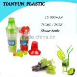 new products plastic drinks joyshaker bottle set with stirrer and ice cube for promotion