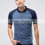 Custom Short Sleeve Button Placket Contrast Collar And Raglan Sleeves Navy Men's 100% Cotton Jersey Slim Fit Casual Polo Tshirt