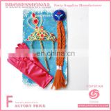 Frozen princess glove crown glove and wand , elas hair Frozen princess accessories set, wholesale frozen elsa princess