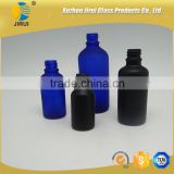 Frosted essential oil glass bottle blue & black                                                                                                         Supplier's Choice