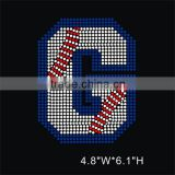 Crystal rhinestone Baseball letter G wholesale iron on transfer