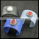 LFD-B0021 Wholesale Mixed Color Cowhide Pave Rhinestone Stone Charms Bangles Jewelry Finding