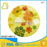 "11"" Upscale melamine custom design round shape serving platter"