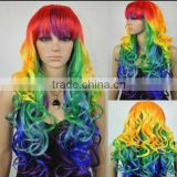 Long Wavy Curly Multi-Color Colorful Rainbow Full Hair Wig Cosplay Party Wig W397