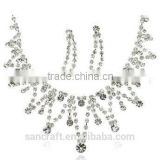 Wholesale Min Order Fashion Full Crystal White Gold Plated Necklace Earrings Crystal Jewelry Set Bridal Wedding