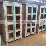 Reclaimed Wood 8 Glass Door Almirah Furniture