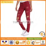 Yarn Dyed Fabric Heavy Rips Twill Cotton Skinny Jeans Wholesale Price For Women