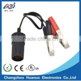 Cigarette lighter socket to car battery crocodile Alligator clamp clips charger with electrical cable