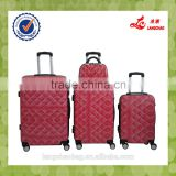 Red Color Baigou Factory PC Suitcase Four Wheel Trolley with Press Button ABS Trolley Bag