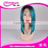 Mindreach hair Short Fashion natural looking two tone color blue hair wig BOB style hair wig synthetic Wigs Bob Style