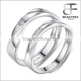 Love Waves Shape Cubic Zirconia 925 Sterling Silver Adjustable Couples Rings for Engagement/Promise