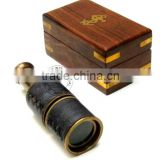 BRASS TELESCOPE IN ANTIQUE FINISH WITH WOODEN BOX - LEATHER SHEATHED NAUTICAL PULLOUT TELESCOPE - NAUTICAL COLLECTIBLE GIFT