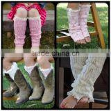 New arrival pink girls crochet knitted lace trim boots heated leg warmers