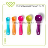 Factoryl wholesale plastic Measuring Spoons, Mixed Colors, Set of 5