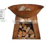 Rustic steel fire pit / Firebowl with foot 50 cm+woodstorage S