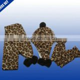 Cute baby soft printed fleece set knit scarf hat gloves