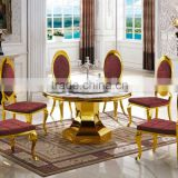 Gold Plating Marble Top Round Dinning Table with Strong Stainless Steel Leg