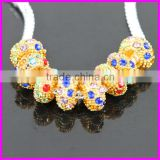 KJL-BD5129 Wholesale ! Mix color rhinestone Gold Alloy big hole Beads Fit European Bracelet DIY