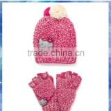 pink and cream kitty knit hat and glove /girls winter hats and gloves /girls gloves with flip top