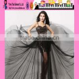 Ladies Sexy Mature Halter Neck Pearl Tulle Beading Evening Dress Latest Elegant Black Tulle Beading Evening Dress