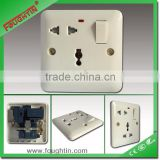 Electric switch and socket Bakelite 1gang 5 pin multi function socket with light and switch
