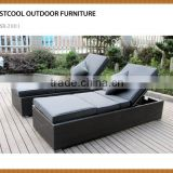 3 Piece Wicker Rattan Chaise Lounge Chair Set Patio Steel Furniture Black Wicker