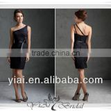 QQ309 Mini lace black one shoulder bridesmaid dresses with one shoulder strap