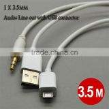 2014 hot usb audio cable adapter 3.5mm micro usb adapter charger for samsung s3 s4 aux car audio line