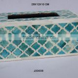 Green and white Bone mosaic tissue box in curving mosaic on wood