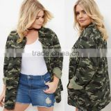 Women Plus Size Clothing XXXL 100% Cotton Casual Collared Neck Buttoned Green Camo Print Shacket Military Camouflage Jacket