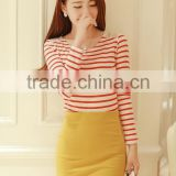 New 2014 Korean Office Style Women's Fashion Casual Solid Color High Waist Strench Cotton Mini Pencil Skirt